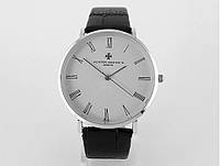 Мужские часы Vacheron Constantin кварцевые, цвет корпуса серебро, белый циферблат