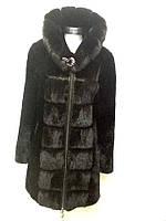 Шуба женская натуральная мутоновая с норкой