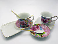 Сервиз из фарфора Цветы с бабочками 2 чашки, 2 блюдца