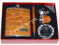 Подарочный набор Moongrass 5 в 1 - фляга, стопка, лейка, шариковая ручка, пепельница DJH-0724, подарок мужчине