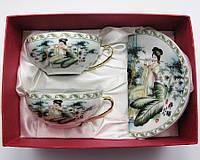 Фарфоровый чайный сервиз Китаянка с флейтой 2 чашки 2 блюдца