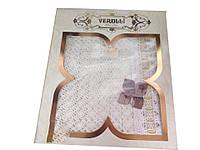 Изысканная кружевная скатерть тм Verolli ванильного цвета