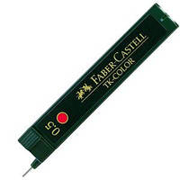 Грифель для механического карандаша 0.5мм красный  Super-Polymer 12 шт в пенале