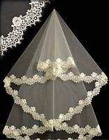 Фата до пояса с кружевом шантильи 15002. Цвет: белый,  айвори