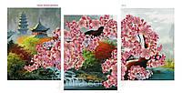 Схема для  вышивки бисером из трех частей Весеннее чудо Японии сакура