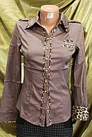 Блузка-Рубашка женская классическая коричневая