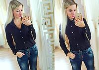 Модная женская блузка, украшенная молниями на рукавах, сезон весна-осень, рубашка, цвет - черный
