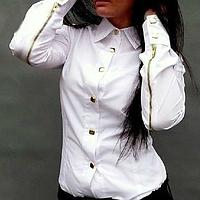 Модная женская блузка, украшенная молниями на рукавах, сезон весна-осень, рубашка, цвет - белый