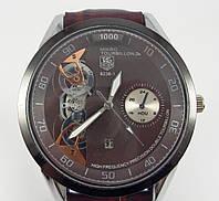 Мужские часы скелетон Tag Heuer 7662 коричневые
