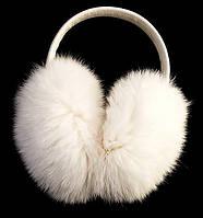 Зимние меховые наушники Ugg пушистые белого цвета
