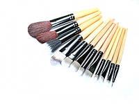 Косметические кисточки, 12 штук в наборе + мягкий чехол, натуральный / искусственный ворс, деревянные ручки