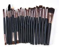 Разнообразные кисти для макияжа, набор из 20-ти штук, включает 3 двухсторонние, круглая щёточка для ресниц
