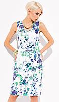 Женское летнее платье из льна белого цвета с цветочным принтом. Модель Peny Zaps, весна-лето 2015