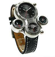 Мужские наручные часы OULM Нескольких часовых поясов  часы, термометр, компас, кожаный браслет