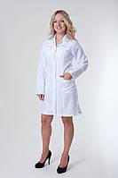Качественный медицинский халат для женщин белый с бирюзовыми полосками
