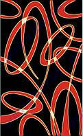 """Ковер для дома Дайси """"Кольца и витки"""" цвет черный с красным"""