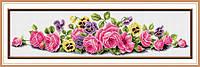 Алмазная техника рисования на холсте TK010 Розовые Розы (84,5х21,5см)