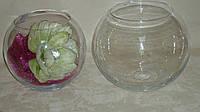 Ваза-шар стеклянная прозрачная 18 см меньшая