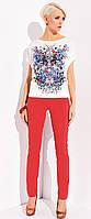 Летние женские брюки Madison Zaps красного цвета из хлопковой ткани, коллекция весна-лето 2015