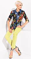 Летние женские брюки из хлопковой ткани лимонного цвета. Модель Madison Zaps, коллекция весна-лето 2015