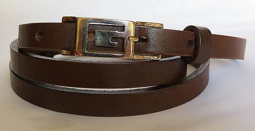 Ремень поясок женский кожаный «Шарли» Svetlana Zubko ДхШ: 130х1,5 см. коричневый 3K152