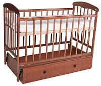 """Кроватка для новорожденных """"Наталка"""" с маятником и ящиком, ясень светлый, тёмный"""