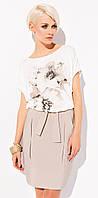 Летняя женская юбка-карандаш из вискозной ткани бежевого цвета. Модель Sienna Zaps коллекция весна-лето 2015