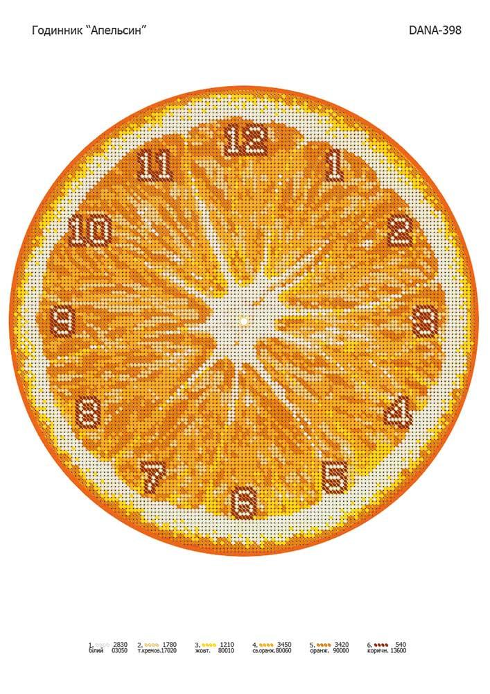 """Часы """"Апельсин"""", схема вышивки"""