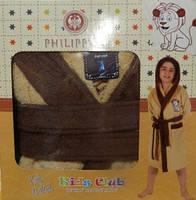 Детский халат для мальчика Philippus бежевый с львёнком 7-8 лет.