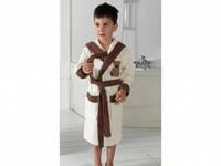 Детский халат для мальчика Philippus белый с мишкой 7-8 лет.