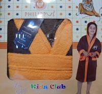 Детский халат для мальчика Philippus коричневый с тигром 7-8 лет.