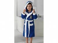 Детский халат для мальчика Philippus синий с ниндзя 7-8 лет.
