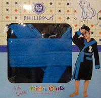 Детский халат для мальчика Philippus чёрный с собачкой 7-8 лет.