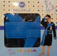 Детский халат для мальчика Philippus чёрный с собачкой 9-10 лет.