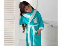 Детский халат для девочки Philippus бирюзовый с зайчиком 7-8 лет.