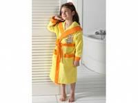 Детский халат для девочки Philippus жёлтый с собачкой 7-8 лет.