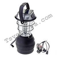 Кемпинговый фонарь LS-360, зарядка от солнца, сети 220В, автомобиля 12В, батареек 3*АА, динамо-машины, 36 LED