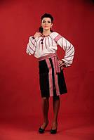 Женский костюм с вышивкой и чёрной юбкой.     Жіночий костюм Модель:ЖК 1-129