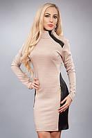 Женское платье, вставки из кожзама