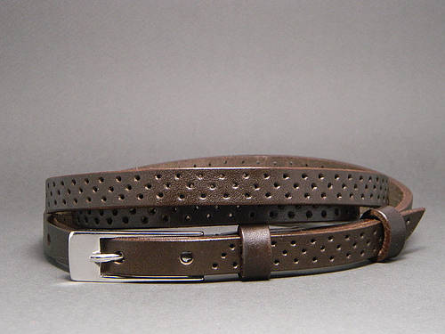 Ремень поясок женский кожаный «Трио» Svetlana Zubko ДхШ: 130х1,5 см. коричневый 2F15227