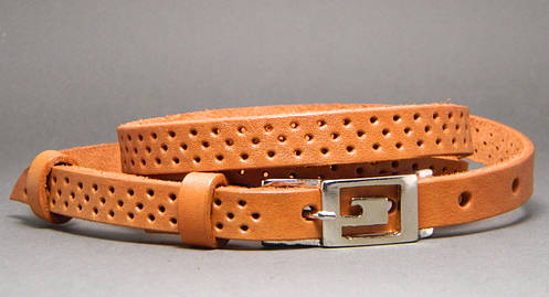 Ремень поясок женский кожаный «Трио» Svetlana Zubko ДхШ: 130х1,5 см. коричневый (рыжий) 3F15427