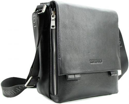 Мужская стильная кожаная сумка на плечо Тоfionno 03357 черная