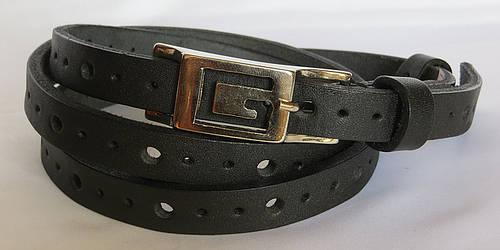 Ремень узкий женский кожаный «Шахеризада» Svetlana Zubko ДхШ: 120х1,5 см. чёрный 3D15114