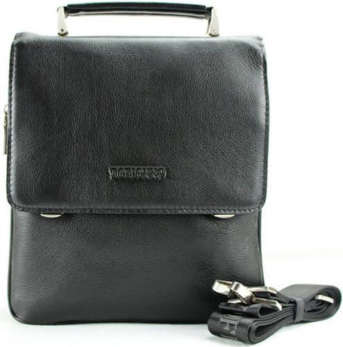 Стильная наплечная сумка-планшет для мужчин из кожи Тоfionno 049558-3 черная