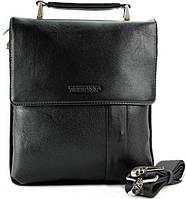 Деловая кожаная наплечная сумка для мужчин Тоfionno 049560-3 черная