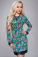 Женское платье  цветочный принт с отделкой из кожи