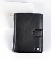 Большой мужской кожаный кошелек черного цвета