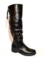Ботфорты женские кожаные зимние на низком ходу. Хит продаж!