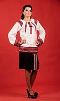 Женский костюм с вышивкой и чёрной короткой юбкой.   Жіночий костюм Модель:ЖК 22-119