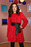 Меховое Пальто красное Коллекция 2015